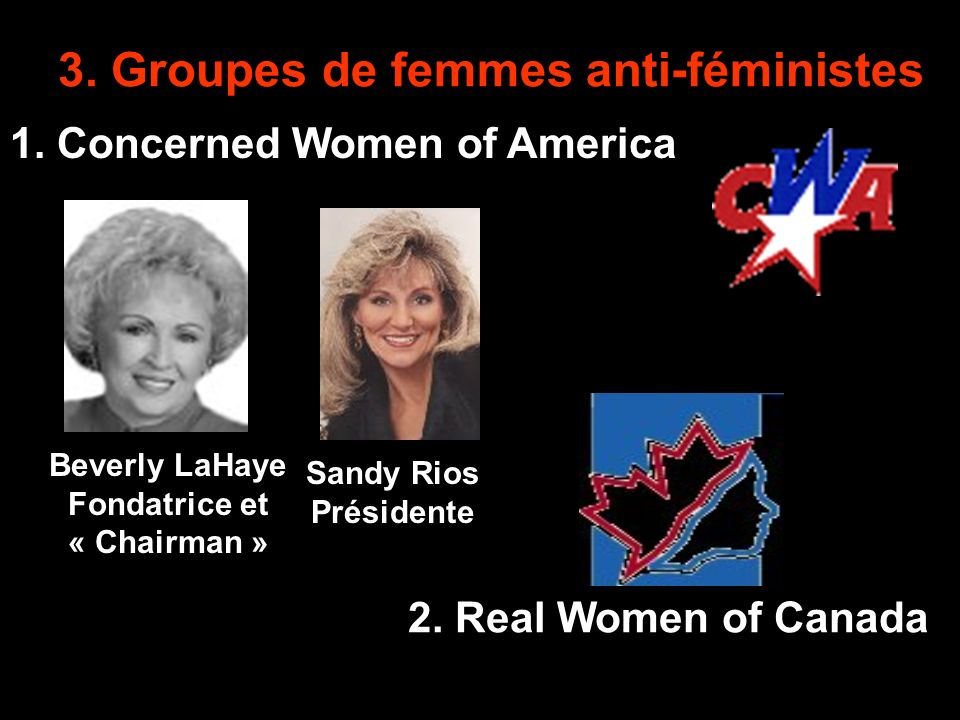 3.Groupes de femmes anti-féministes 2. Real Women of Canada 1.
