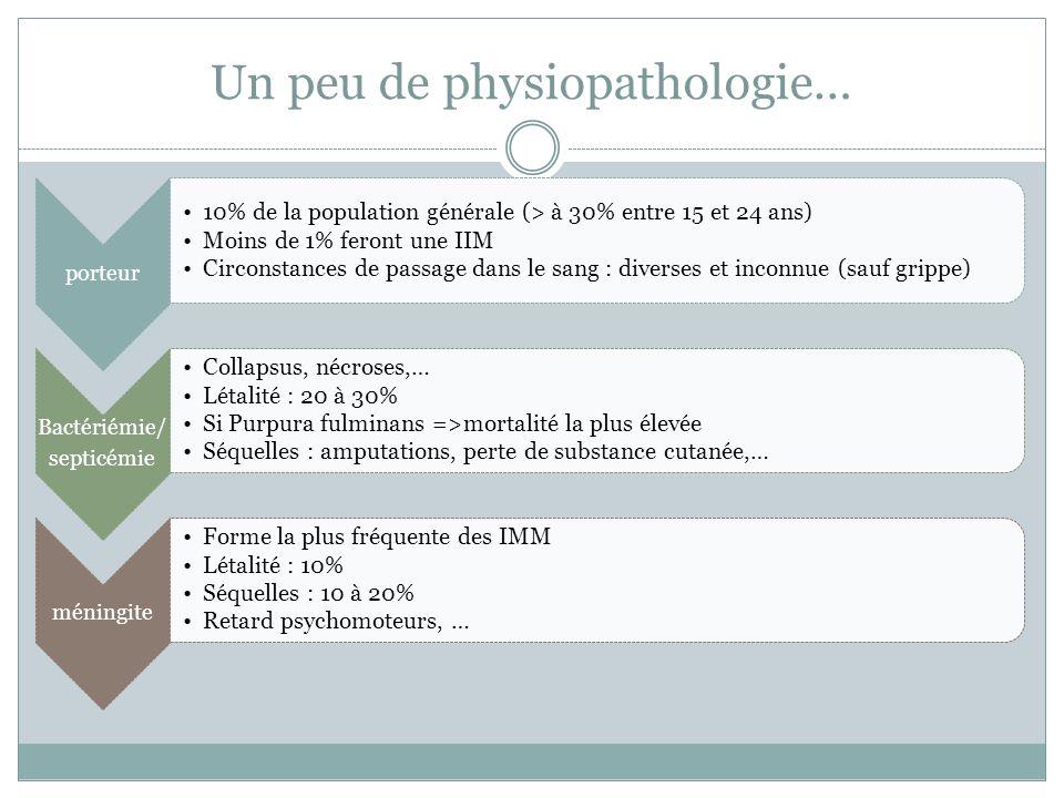 Un peu de physiopathologie… porteur 10% de la population générale (> à 30% entre 15 et 24 ans) Moins de 1% feront une IIM Circonstances de passage dan