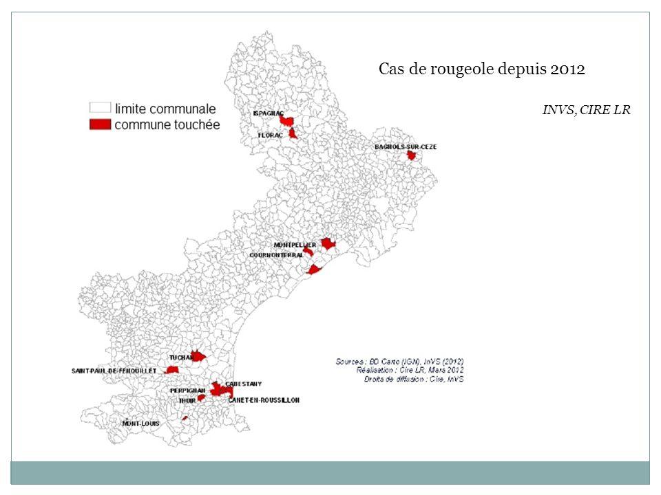 Cas de rougeole depuis 2012 INVS, CIRE LR