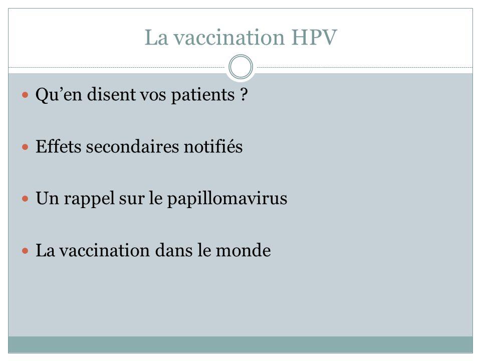 La vaccination HPV Quen disent vos patients ? Effets secondaires notifiés Un rappel sur le papillomavirus La vaccination dans le monde