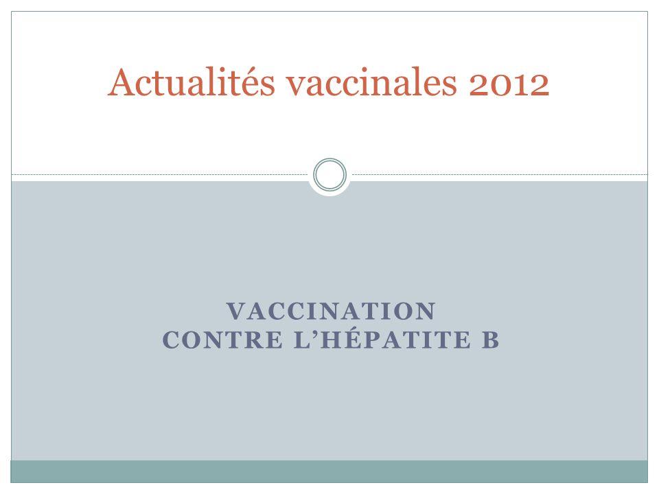VACCINATION CONTRE LHÉPATITE B Actualités vaccinales 2012