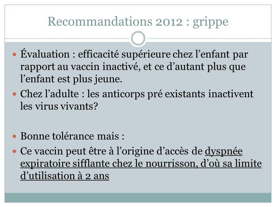 Recommandations 2012 : grippe Évaluation : efficacité supérieure chez lenfant par rapport au vaccin inactivé, et ce dautant plus que lenfant est plus