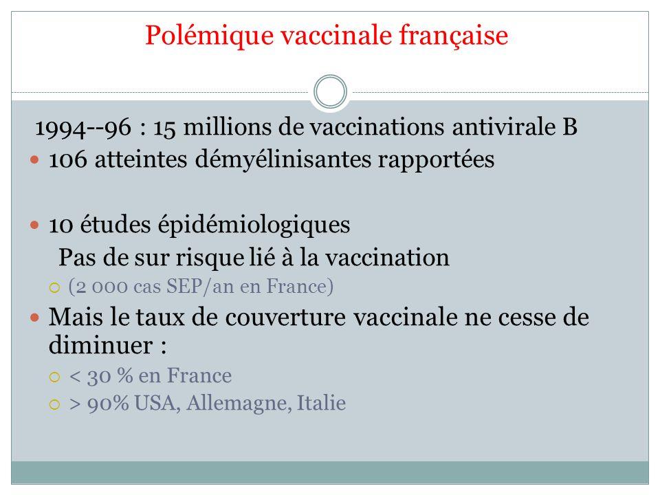 Polémique vaccinale française 1994--96 : 15 millions de vaccinations antivirale B 106 atteintes démyélinisantes rapportées 10 études épidémiologiques