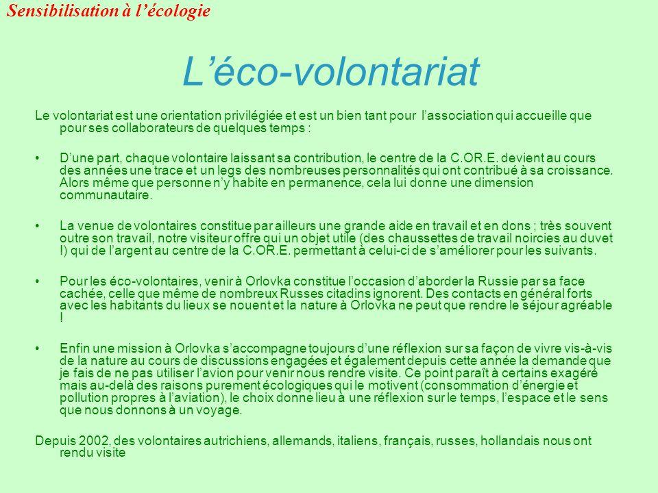 Léco-volontariat Le volontariat est une orientation privilégiée et est un bien tant pour lassociation qui accueille que pour ses collaborateurs de que