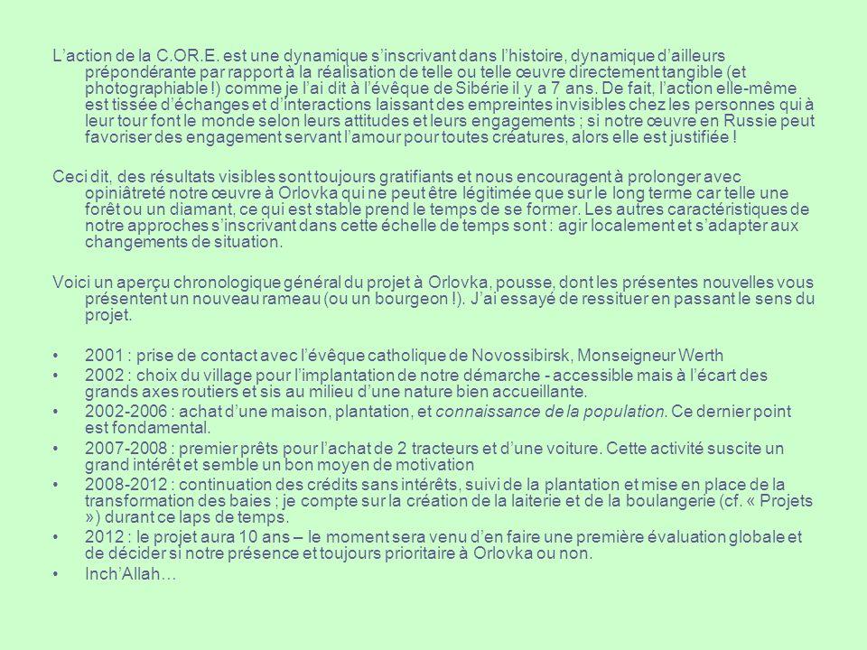 Laction de la C.OR.E. est une dynamique sinscrivant dans lhistoire, dynamique dailleurs prépondérante par rapport à la réalisation de telle ou telle œ