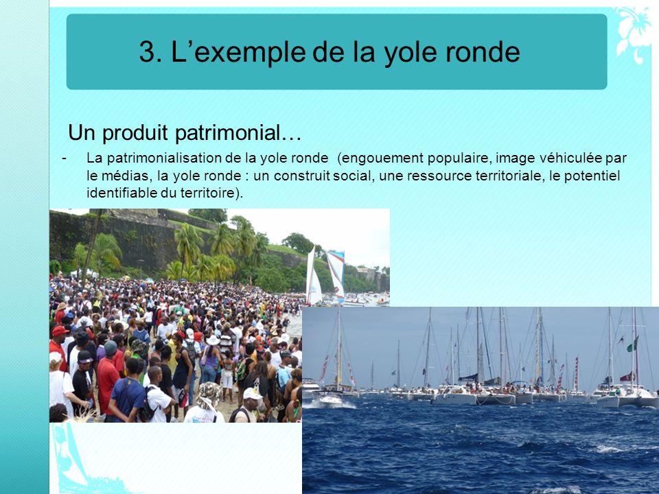 3. Lexemple de la yole ronde Un produit patrimonial… -La patrimonialisation de la yole ronde (engouement populaire, image véhiculée par le médias, la