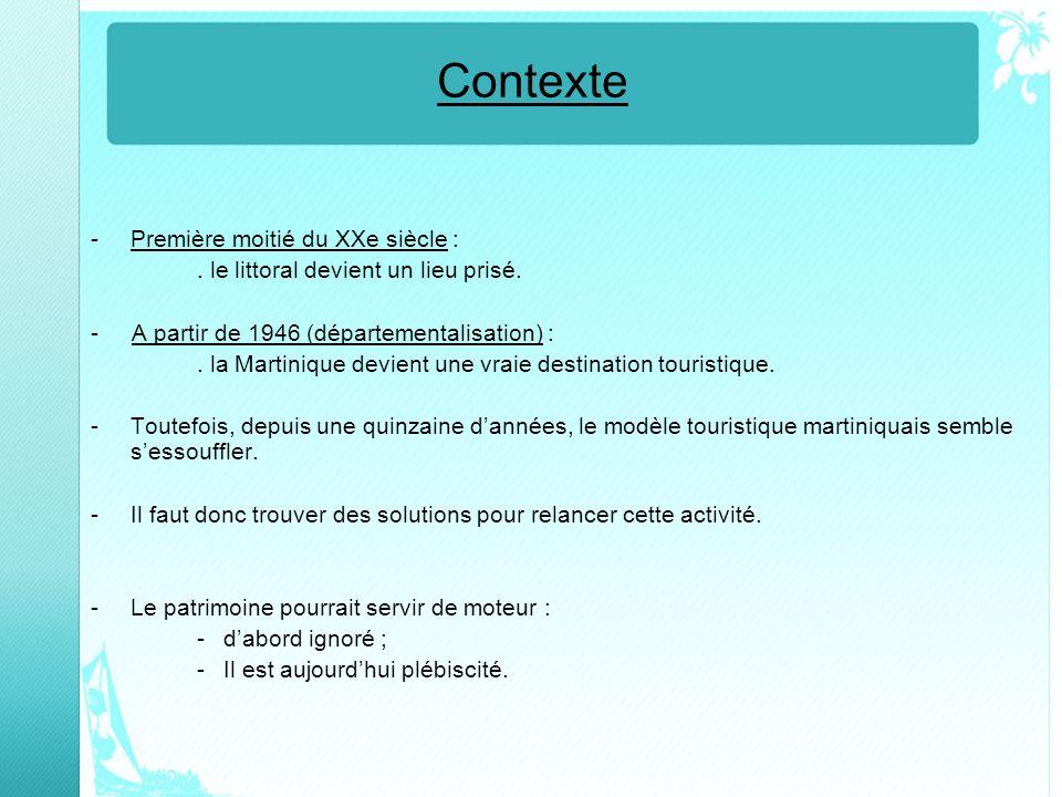 Contexte -Première moitié du XXe siècle :. le littoral devient un lieu prisé. - A partir de 1946 (départementalisation) :. la Martinique devient une v