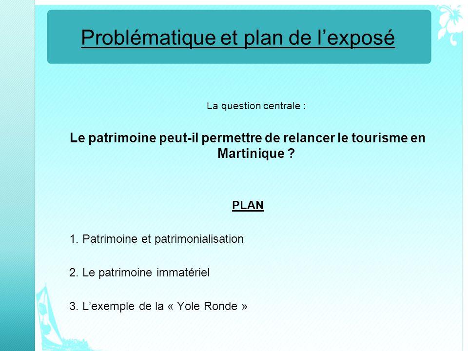 Problématique et plan de lexposé La question centrale : Le patrimoine peut-il permettre de relancer le tourisme en Martinique ? PLAN 1. Patrimoine et