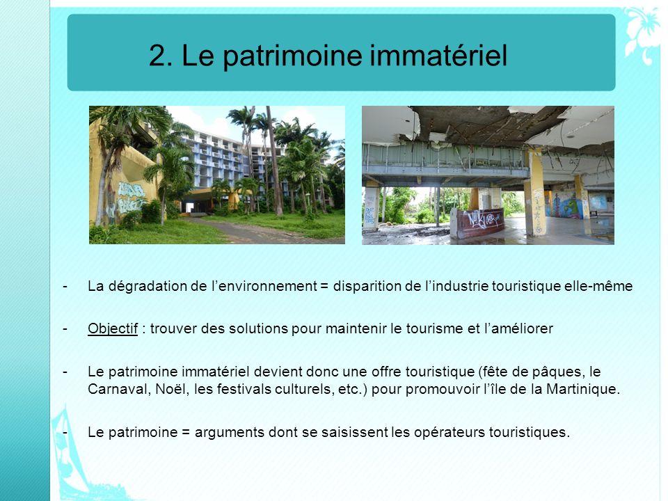 2. Le patrimoine immatériel -La dégradation de lenvironnement = disparition de lindustrie touristique elle-même -Objectif : trouver des solutions pour