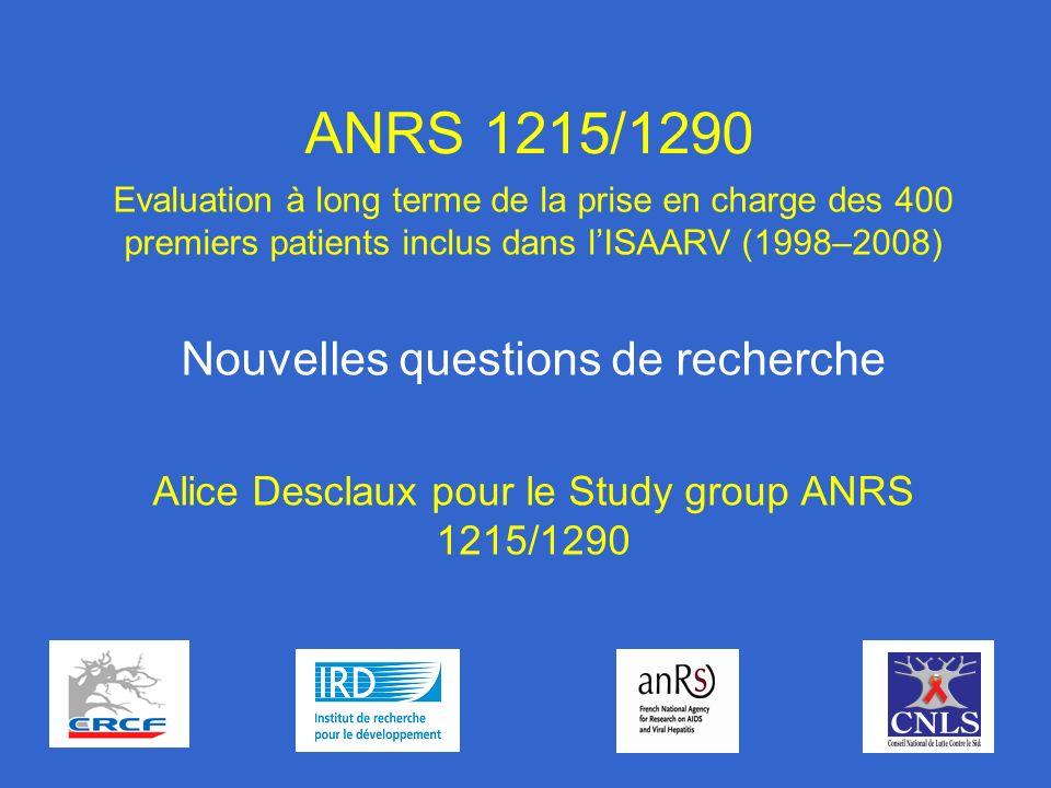 1 ANRS 1215/1290 Evaluation à long terme de la prise en charge des 400 premiers patients inclus dans lISAARV (1998–2008) Nouvelles questions de recherche Alice Desclaux pour le Study group ANRS 1215/1290