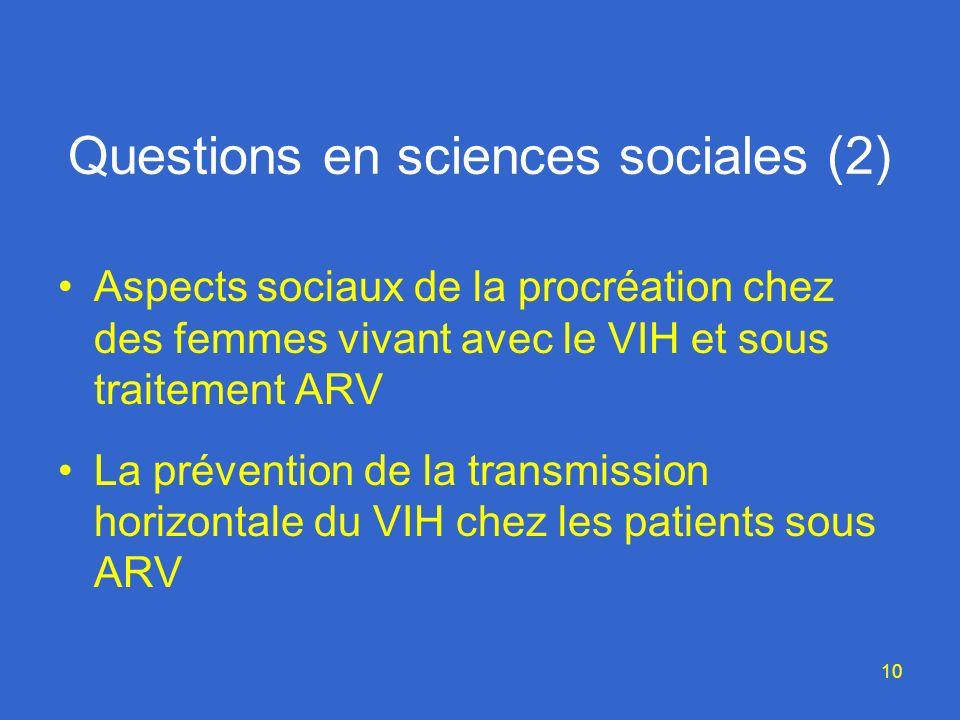 10 Questions en sciences sociales (2) Aspects sociaux de la procréation chez des femmes vivant avec le VIH et sous traitement ARV La prévention de la transmission horizontale du VIH chez les patients sous ARV