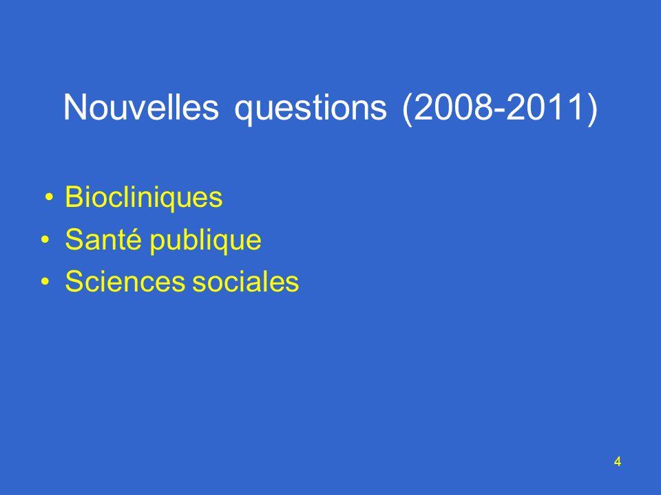 4 Nouvelles questions (2008-2011) Biocliniques Santé publique Sciences sociales
