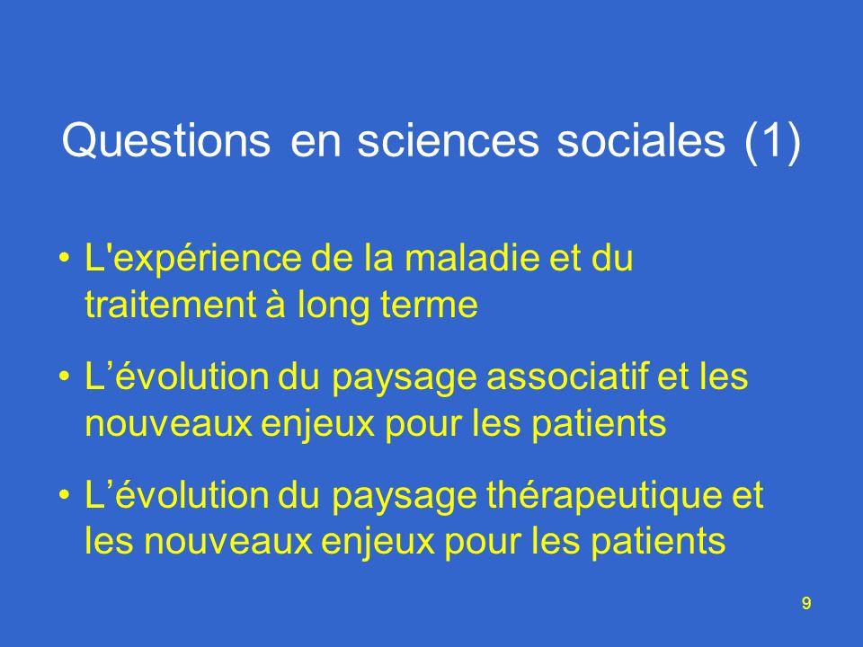 9 Questions en sciences sociales (1) L expérience de la maladie et du traitement à long terme Lévolution du paysage associatif et les nouveaux enjeux pour les patients Lévolution du paysage thérapeutique et les nouveaux enjeux pour les patients