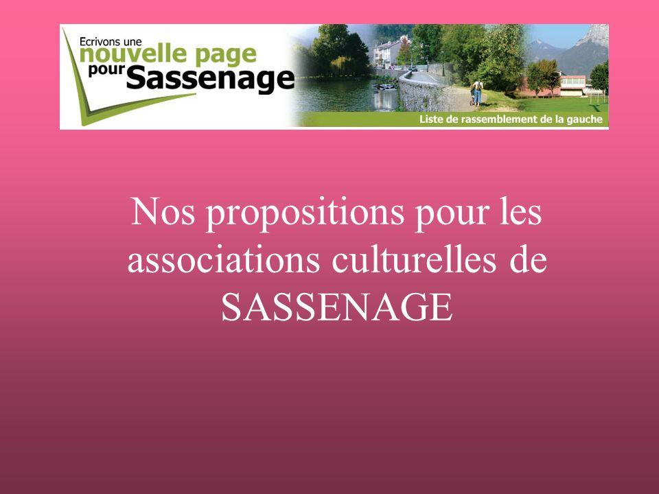 Nos propositions pour les associations culturelles de SASSENAGE