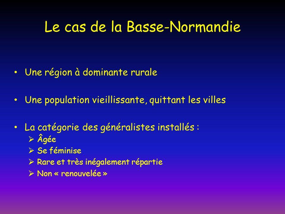 Le cas de la Basse-Normandie Une région à dominante rurale Une population vieillissante, quittant les villes La catégorie des généralistes installés : Âgée Se féminise Rare et très inégalement répartie Non « renouvelée »