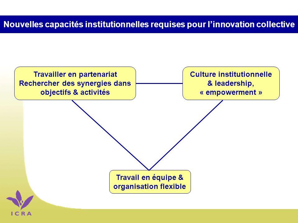 Nouvelles capacités institutionnelles requises pour linnovation collective Travail en équipe & organisation flexible Travailler en partenariat Rechercher des synergies dans objectifs & activités Culture institutionnelle & leadership, « empowerment »
