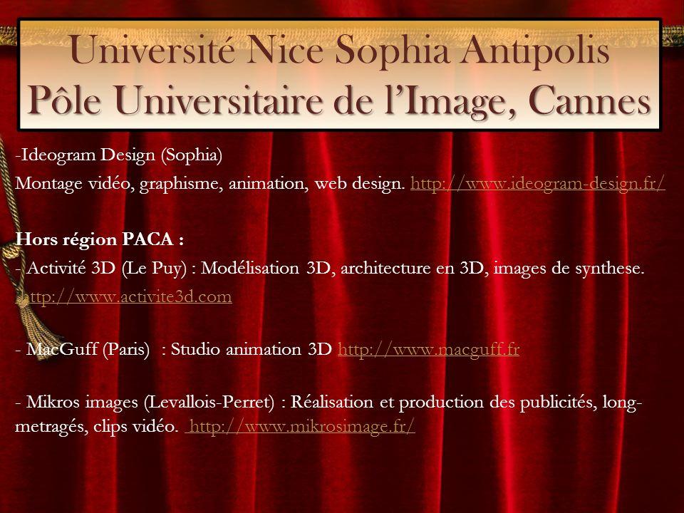 Pôle Universitaire de lImage, Cannes Université Nice Sophia Antipolis Pôle Universitaire de lImage, Cannes -Ideogram Design (Sophia) Montage vidéo, graphisme, animation, web design.