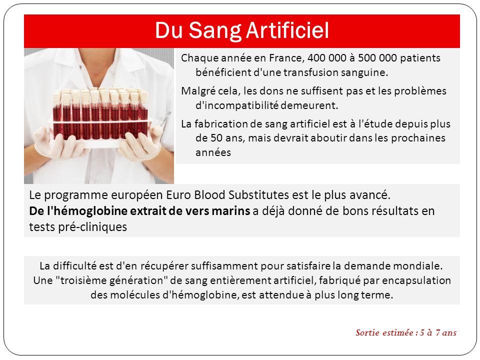 Du Sang Artificiel Chaque année en France, 400 000 à 500 000 patients bénéficient d'une transfusion sanguine. Malgré cela, les dons ne suffisent pas e