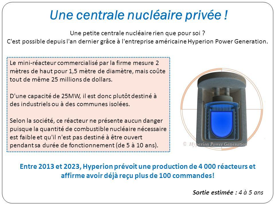 Une centrale nucléaire privée ! Une petite centrale nucléaire rien que pour soi ? C'est possible depuis l'an dernier grâce à l'entreprise américaine H