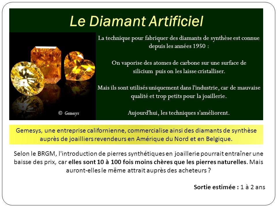 Le Diamant Artificiel La technique pour fabriquer des diamants de synthèse est connue depuis les années 1950 : On vaporise des atomes de carbone sur u