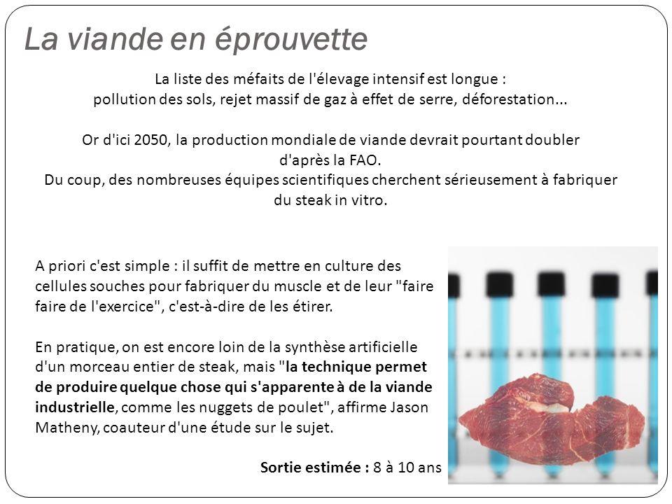 La viande en éprouvette La liste des méfaits de l'élevage intensif est longue : pollution des sols, rejet massif de gaz à effet de serre, déforestatio