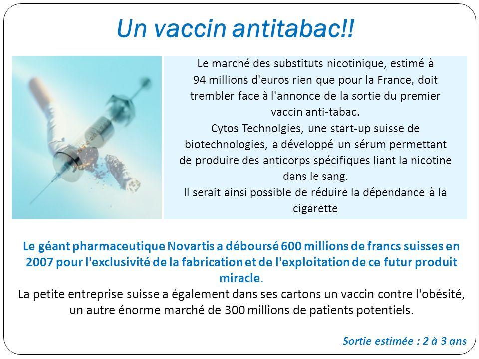 Un vaccin antitabac!! Le marché des substituts nicotinique, estimé à 94 millions d'euros rien que pour la France, doit trembler face à l'annonce de la