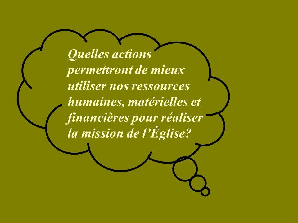 Quelles actions permettront de mieux utiliser nos ressources humaines, matérielles et financières pour réaliser la mission de lÉglise