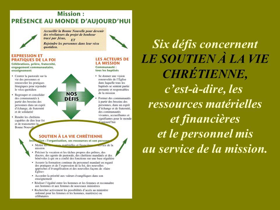 Six défis concernent LE SOUTIEN À LA VIE CHRÉTIENNE, cest-à-dire, les ressources matérielles et financières et le personnel mis au service de la mission.