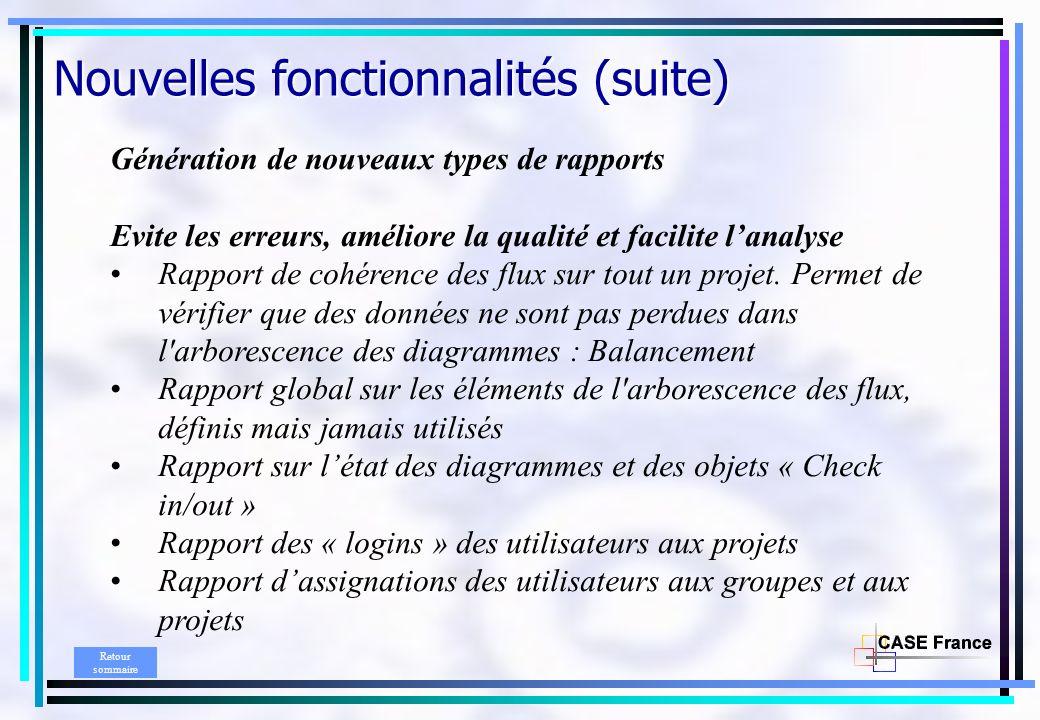 Génération de nouveaux types de rapports Evite les erreurs, améliore la qualité et facilite lanalyse Rapport de cohérence des flux sur tout un projet.