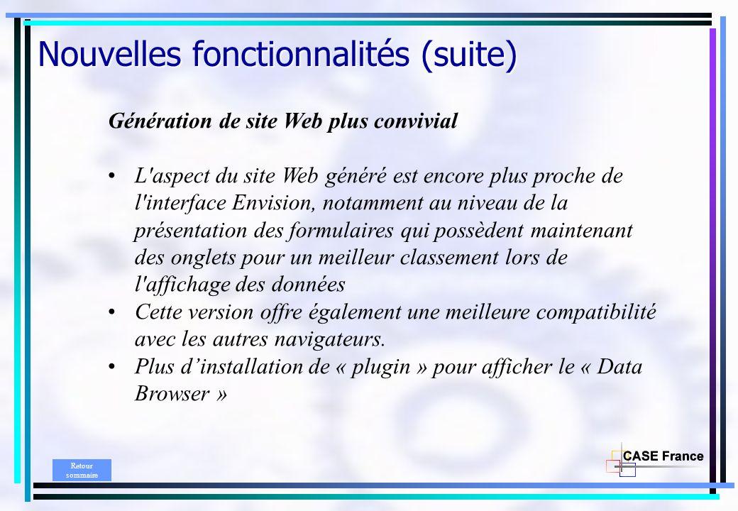 Génération de site Web plus convivial L'aspect du site Web généré est encore plus proche de l'interface Envision, notamment au niveau de la présentati