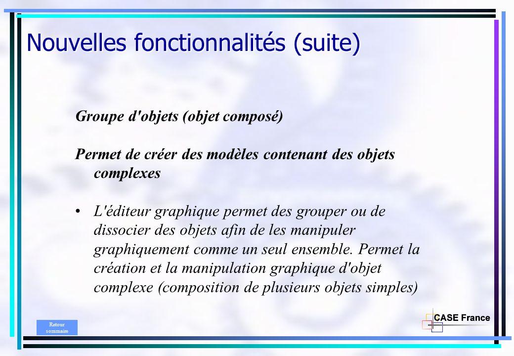 Groupe d'objets (objet composé) Permet de créer des modèles contenant des objets complexes L'éditeur graphique permet des grouper ou de dissocier des