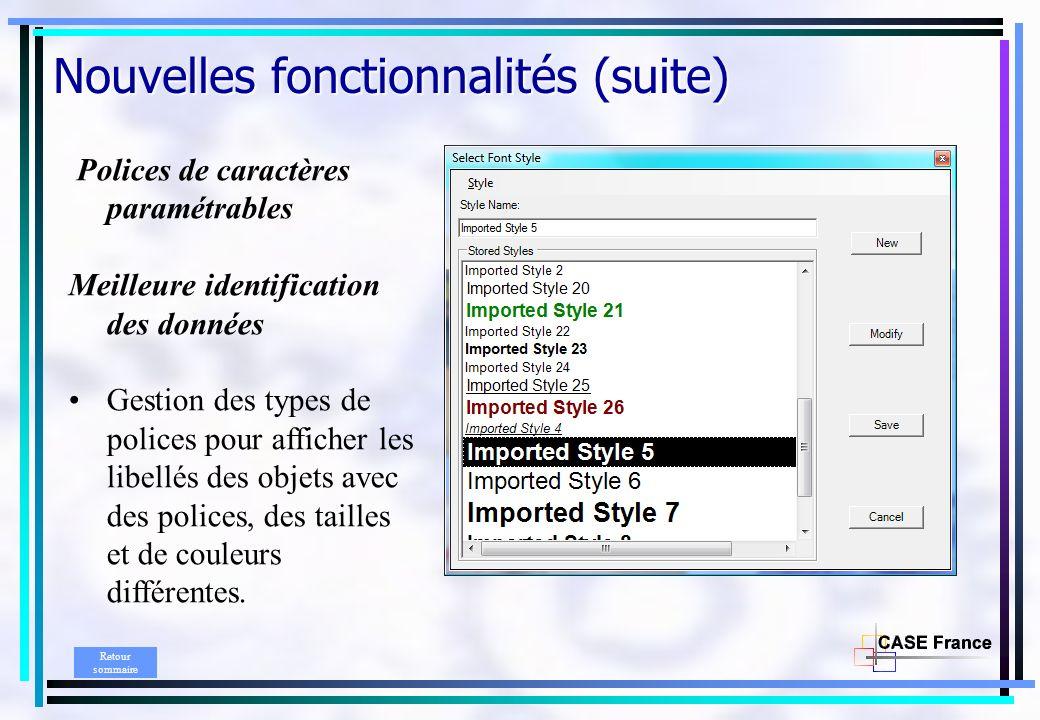 Nouvelles fonctionnalités (suite) Polices de caractères paramétrables Meilleure identification des données Gestion des types de polices pour afficher les libellés des objets avec des polices, des tailles et de couleurs différentes.