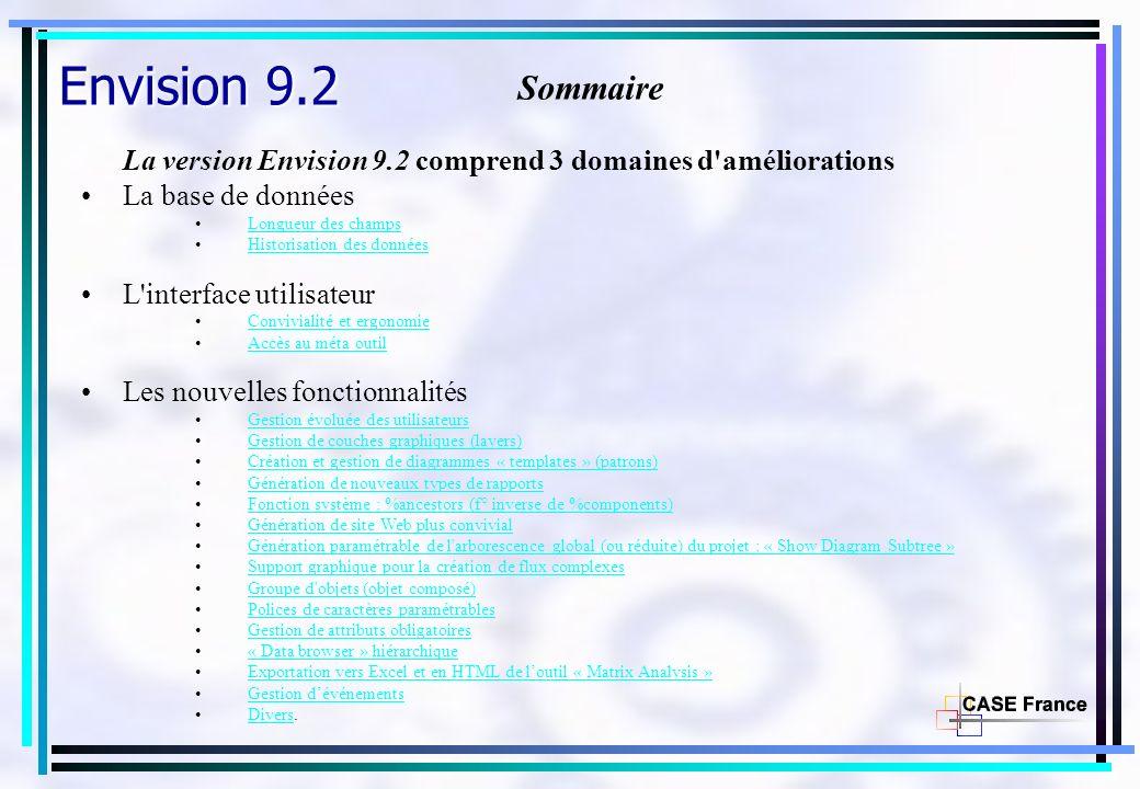 Envision 9.2 Sommaire La version Envision 9.2 comprend 3 domaines d'améliorations La base de données Longueur des champs Historisation des données L'i