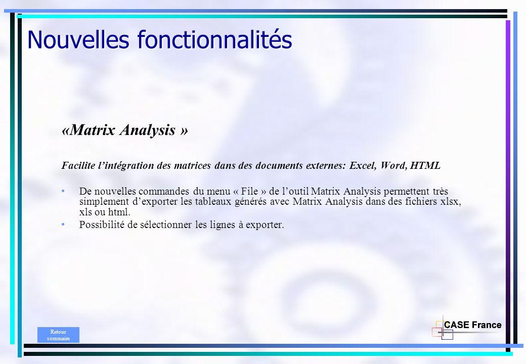 Nouvelles fonctionnalités «Matrix Analysis » Facilite lintégration des matrices dans des documents externes: Excel, Word, HTML De nouvelles commandes du menu « File » de loutil Matrix Analysis permettent très simplement dexporter les tableaux générés avec Matrix Analysis dans des fichiers xlsx, xls ou html.