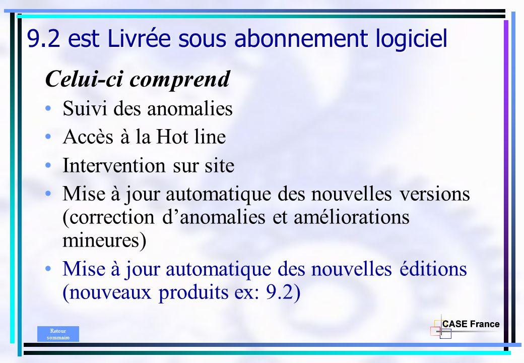 9.2 est Livrée sous abonnement logiciel Celui-ci comprend Suivi des anomalies Accès à la Hot line Intervention sur site Mise à jour automatique des no