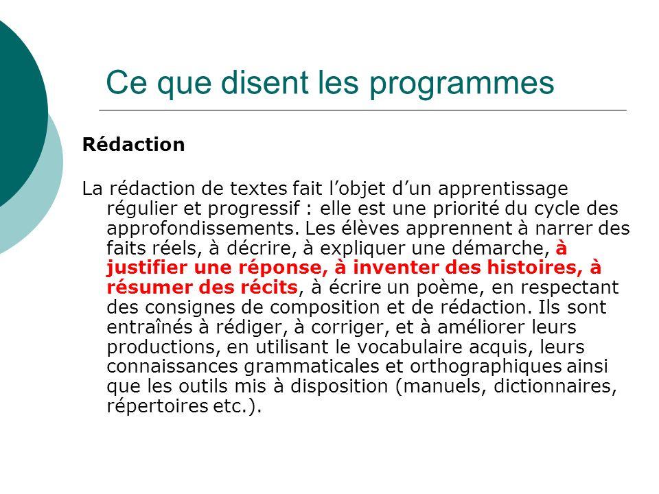 Rédaction La rédaction de textes fait lobjet dun apprentissage régulier et progressif : elle est une priorité du cycle des approfondissements.