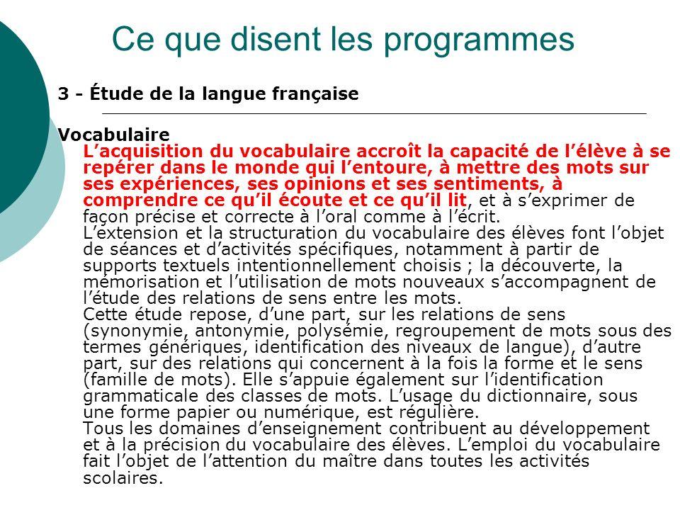 3 - Étude de la langue française Vocabulaire Lacquisition du vocabulaire accroît la capacité de lélève à se repérer dans le monde qui lentoure, à mett