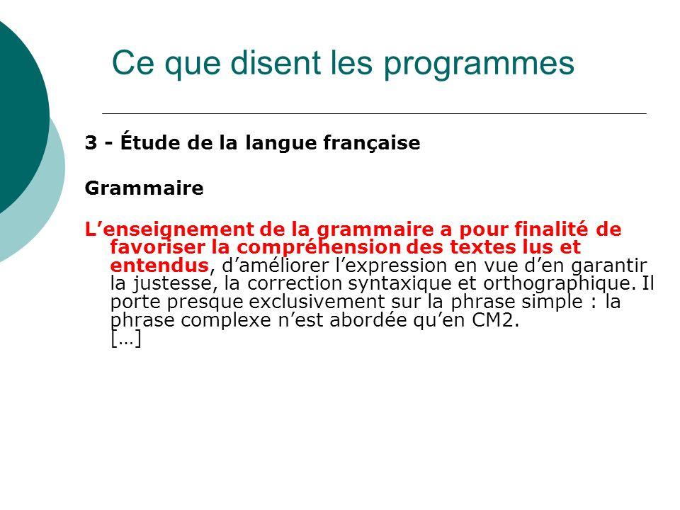 3 - Étude de la langue française Grammaire Lenseignement de la grammaire a pour finalité de favoriser la compréhension des textes lus et entendus, dam