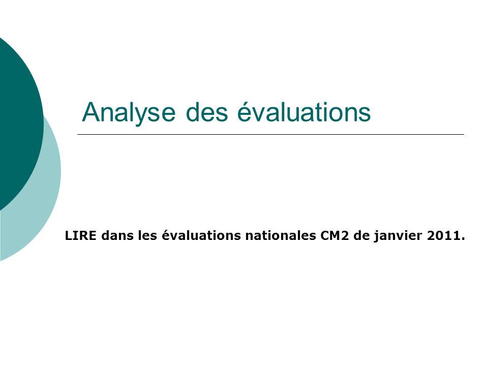 Analyse des évaluations LIRE dans les évaluations nationales CM2 de janvier 2011.