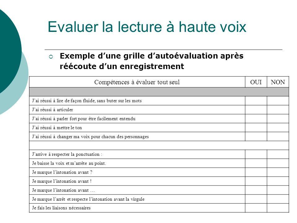 Evaluer la lecture à haute voix Exemple dune grille dautoévaluation après réécoute dun enregistrement Compétences à évaluer tout seulOUINON Jai réussi