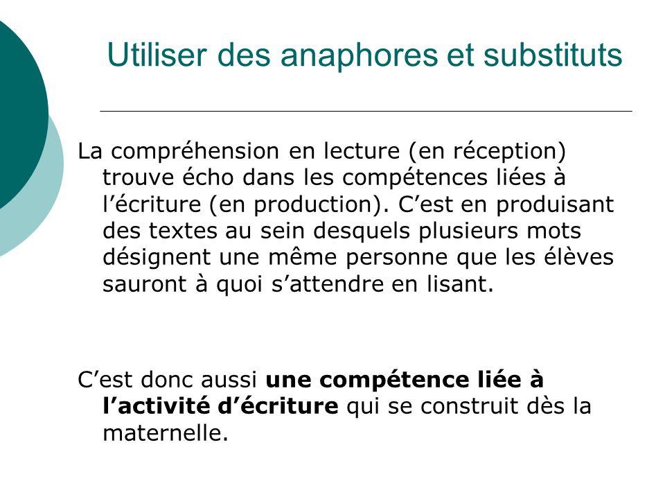 Utiliser des anaphores et substituts La compréhension en lecture (en réception) trouve écho dans les compétences liées à lécriture (en production). Ce