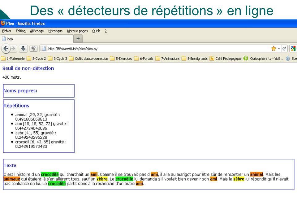 Des « détecteurs de répétitions » en ligne