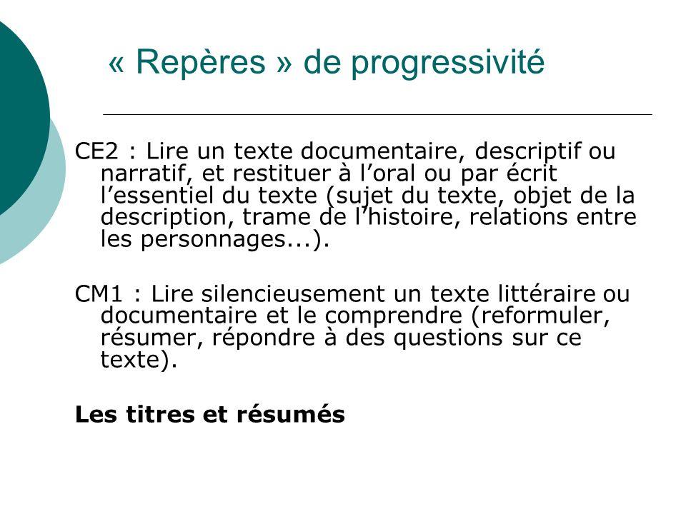 CE2 : Lire un texte documentaire, descriptif ou narratif, et restituer à loral ou par écrit lessentiel du texte (sujet du texte, objet de la descripti