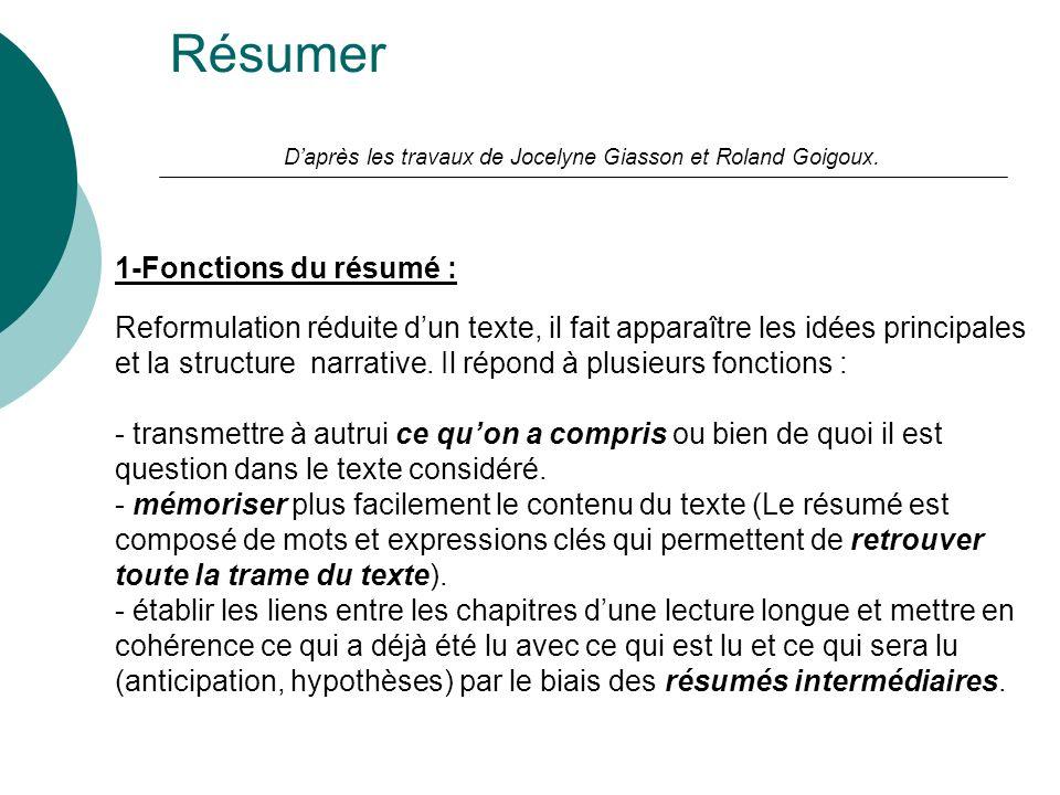 Résumer Daprès les travaux de Jocelyne Giasson et Roland Goigoux. 1-Fonctions du résumé : Reformulation réduite dun texte, il fait apparaître les idée