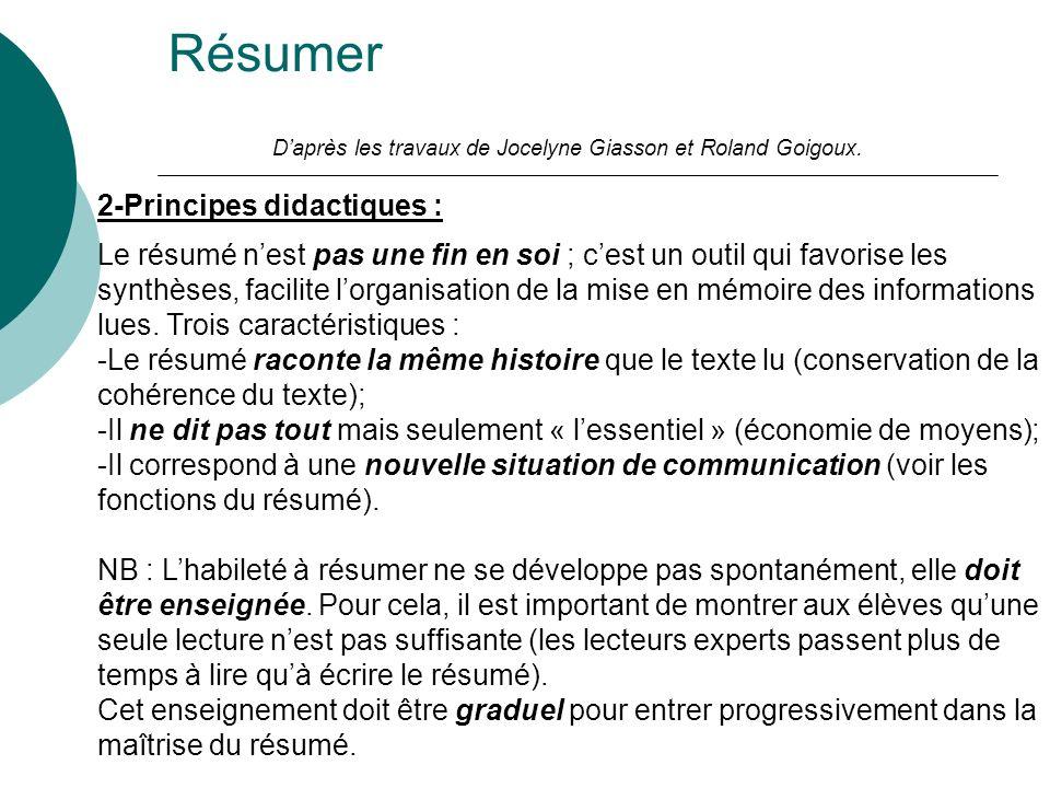 Résumer Daprès les travaux de Jocelyne Giasson et Roland Goigoux. 2-Principes didactiques : Le résumé nest pas une fin en soi ; cest un outil qui favo