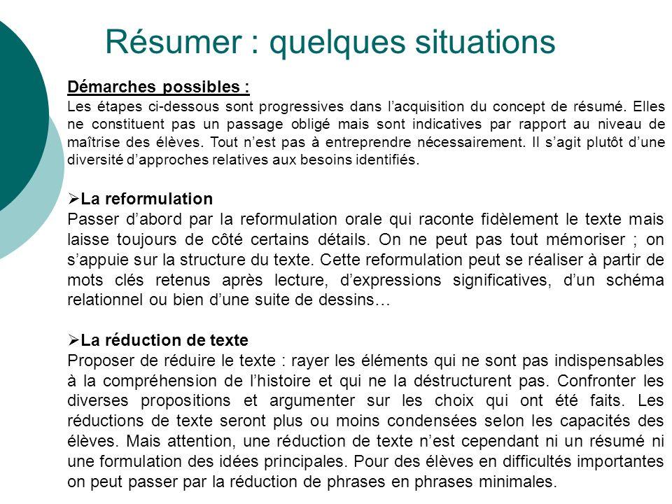 Résumer : quelques situations Démarches possibles : Les étapes ci-dessous sont progressives dans lacquisition du concept de résumé.