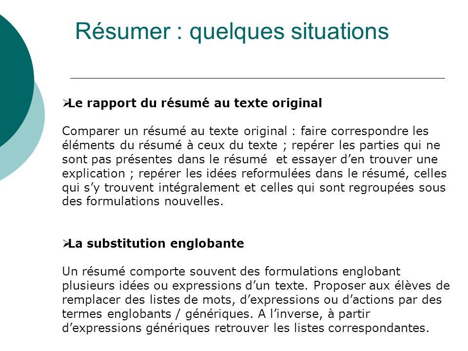 Le rapport du résumé au texte original Comparer un résumé au texte original : faire correspondre les éléments du résumé à ceux du texte ; repérer les