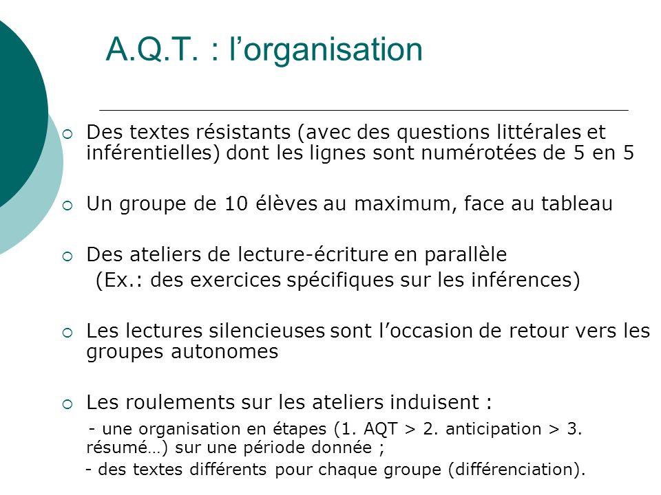 A.Q.T. : lorganisation Des textes résistants (avec des questions littérales et inférentielles) dont les lignes sont numérotées de 5 en 5 Un groupe de