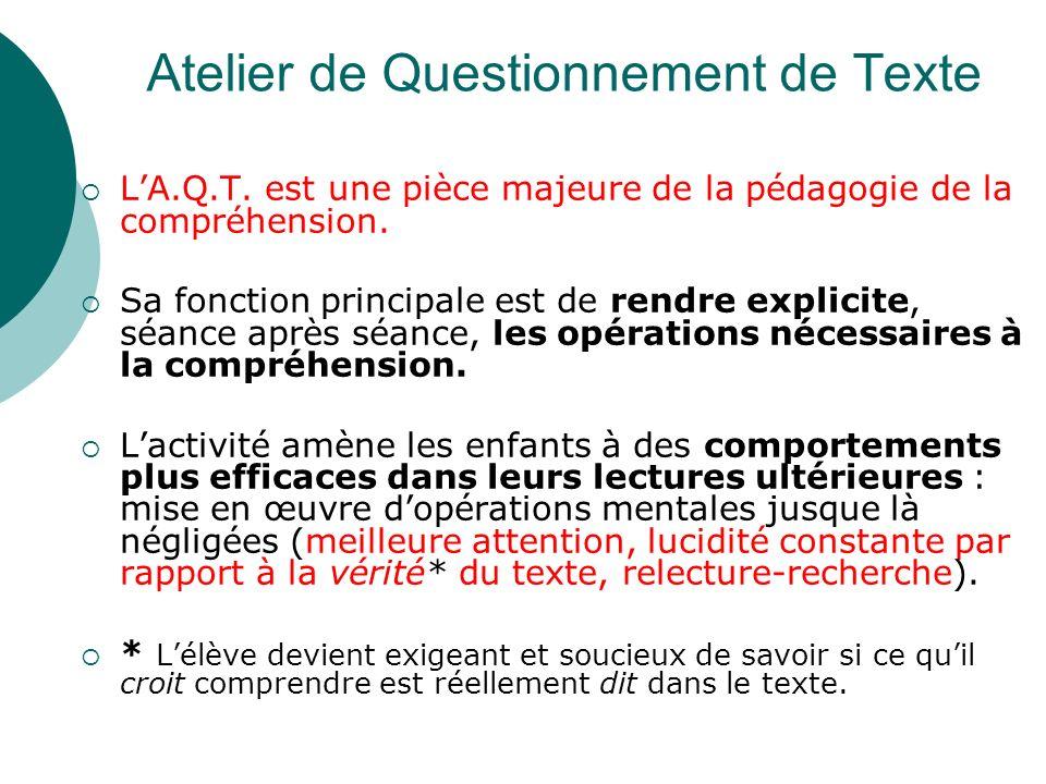 Atelier de Questionnement de Texte LA.Q.T. est une pièce majeure de la pédagogie de la compréhension. Sa fonction principale est de rendre explicite,