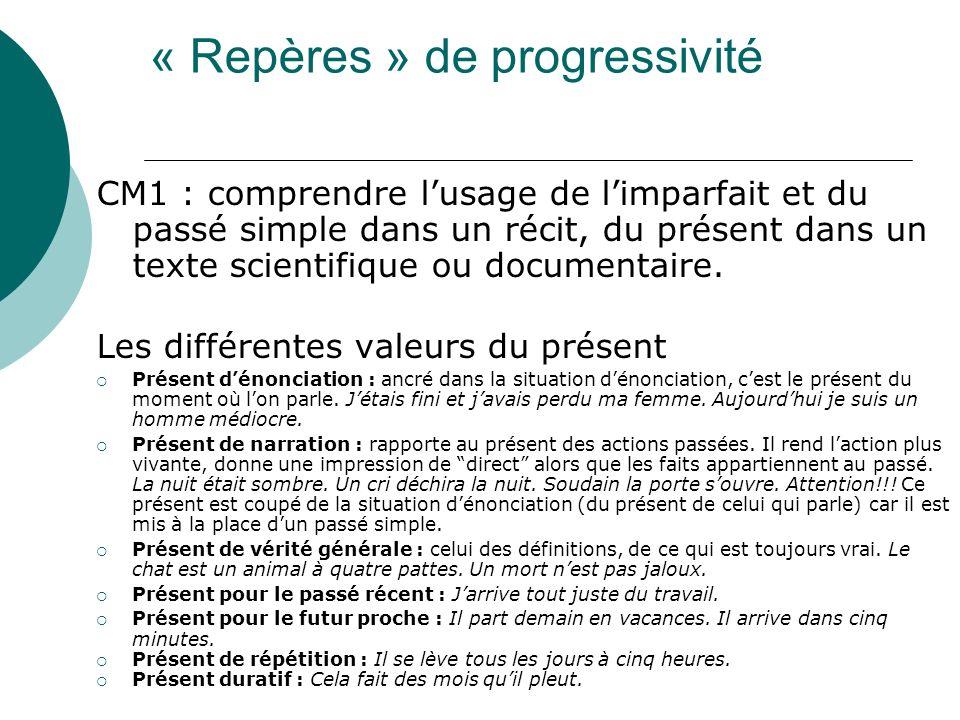 CM1 : comprendre lusage de limparfait et du passé simple dans un récit, du présent dans un texte scientifique ou documentaire. Les différentes valeurs